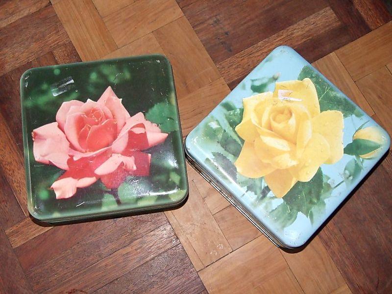 Rose tins & sewing basket